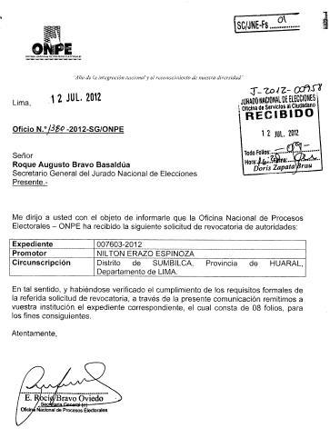 ONPE solicita incluir en proceso de revocatoria a alcaldesa de Sumbilca
