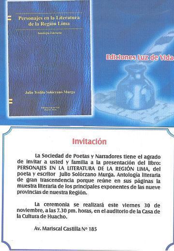Presentan libro: Personajes en la Literatura de la Región Lima